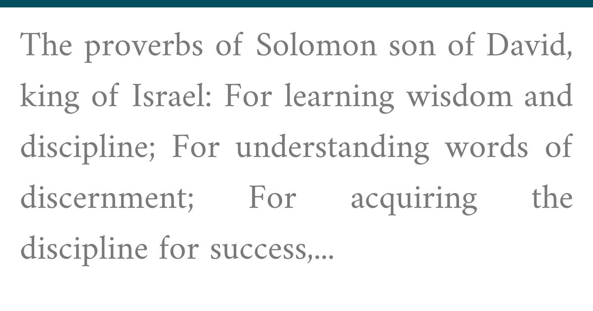 Proverbs | Sefaria